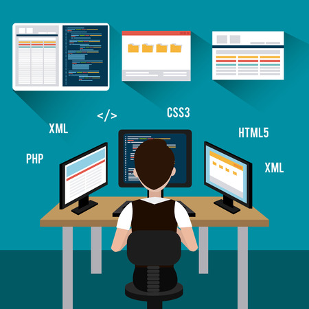 computer software: Software design over blue background, vector illustration.