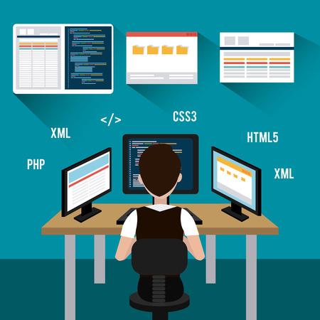 Software ontwerp over blauwe achtergrond, vector illustratie.