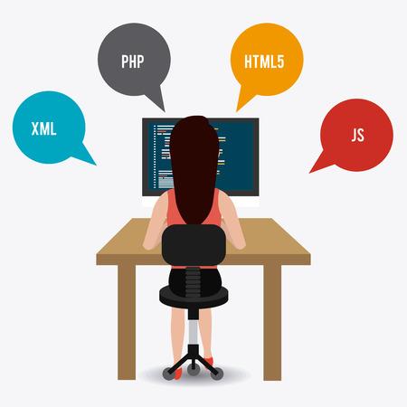 js: Software design over white background, vector illustration. Illustration