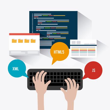 teclado de computadora: Diseño de software sobre el fondo blanco, ilustración vectorial.