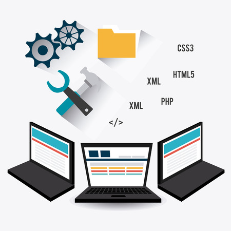 css3: Software design over white background, vector illustration. Illustration