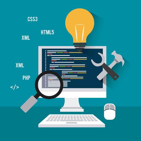 software: Software design over blue background, vector illustration.