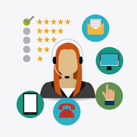 communicator: Customer design over white background, vector illustration.