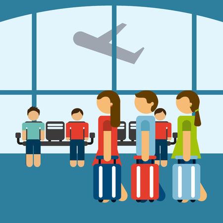 people travelling: airplane  travel design  Illustration