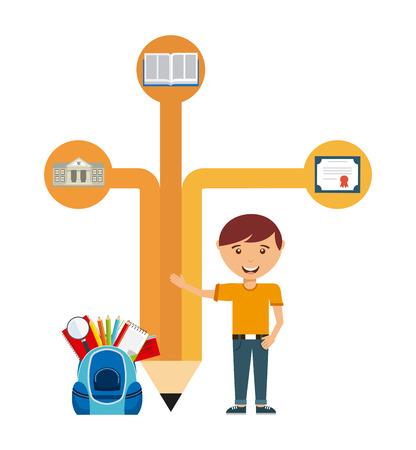 edificio escuela: diseño del emblema de la escuela, ilustración vectorial