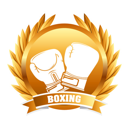 gold leafs: boxing sport design, vector illustration   Illustration