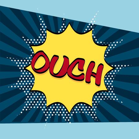 ouch: comic pop art design, vector illustration