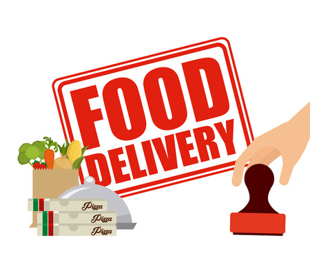 paper delivery person: food delivery design, vector illustration