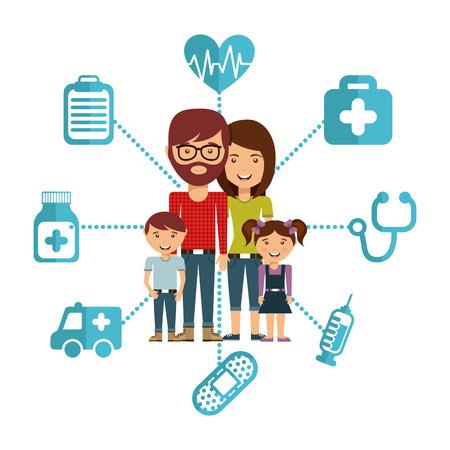 personas saludables: dise�o de concepto de familia, ilustraci�n vectorial Vectores