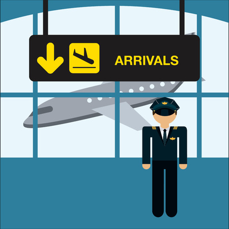 arrivals: airplane  travel design, vector illustration