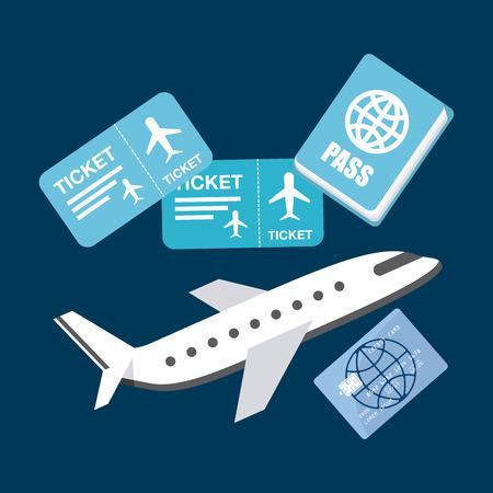 disegno di viaggio aereo, illustrazione vettoriale