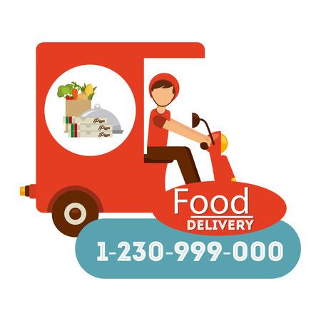 Food Design consegna, illustrazione vettoriale Archivio Fotografico - 40975195