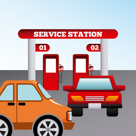 service station design, vector illustration   Illustration