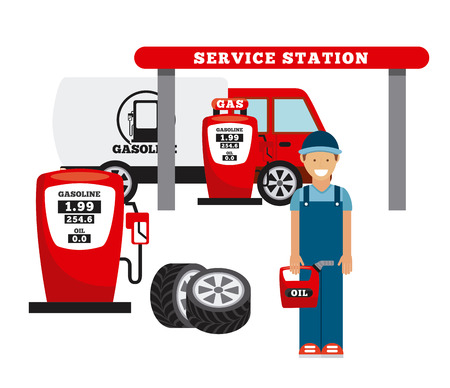 service station: service station design, vector illustration   Illustration