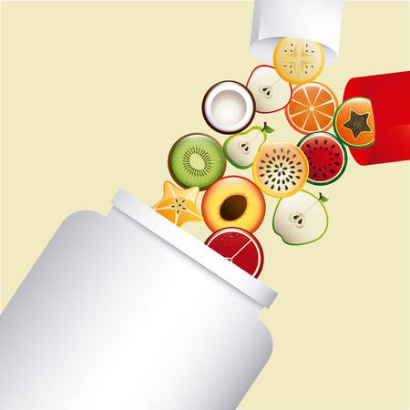 vitamine e integratori design, illustrazione vettoriale