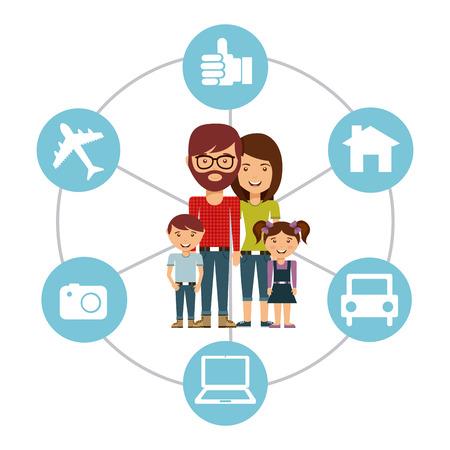 design media love: family concept design, vector illustration