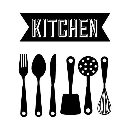 keuken gereedschap ontwerp, vector illustratie Stock Illustratie