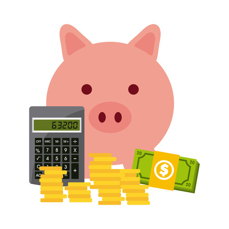 piggy bank: money concept design, vector illustration