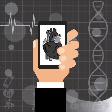 simbolo medicina: cardiología diseño de aplicaciones, ilustración vectorial