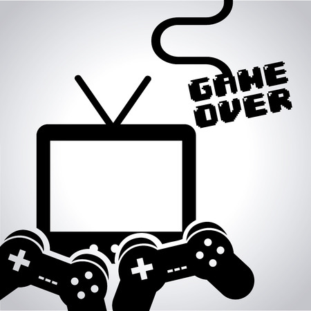 player controls: video game design, vector illustration