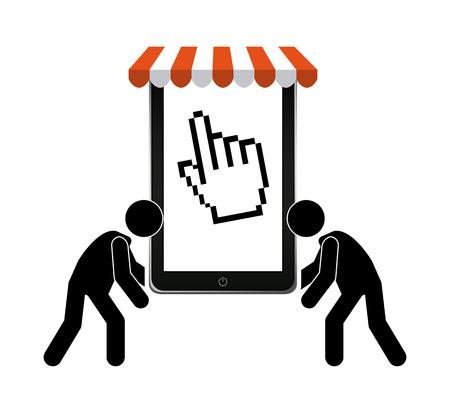 commerce electronique: conception de commerce �lectronique, illustration vectorielle Illustration