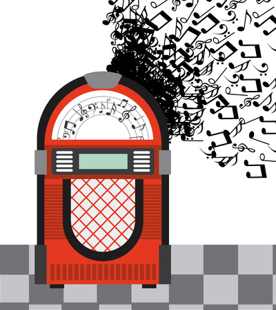 jukebox: Music Vintage design over white background vector illustration