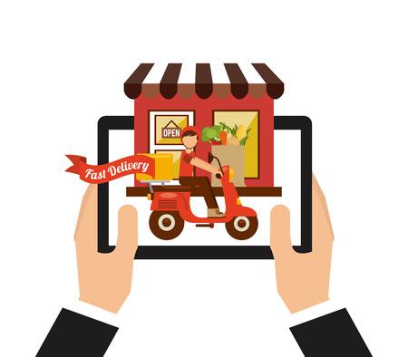 negocios comida: diseño de la entrega de alimentos Vectores