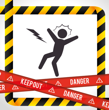 hazard tape: Danger design over white background, vector illustration.
