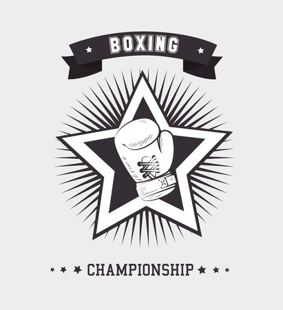 championship: Boxing design over white background, vector illustration.