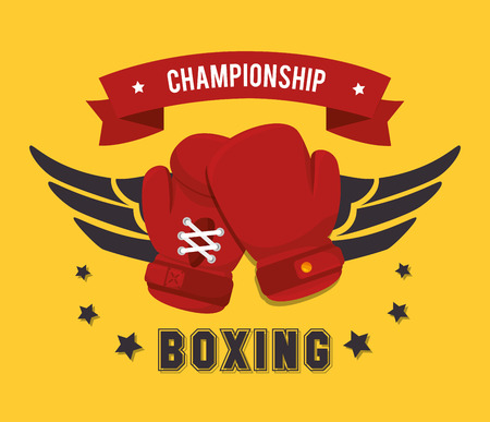 boxing: Boxing design over yellow background, vector illustration.