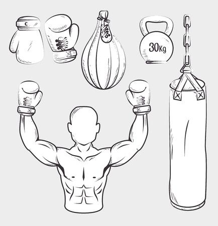 Boxing design over white background, vector illustration.