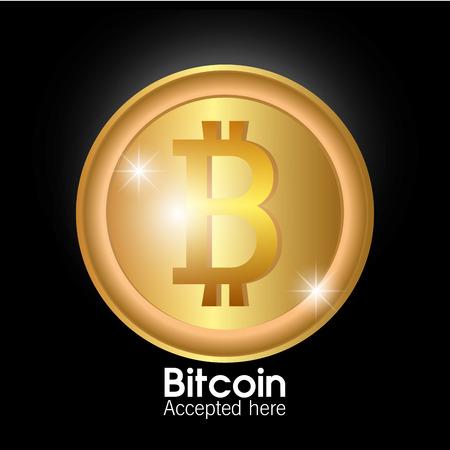 counting money: Bitcoin design over black background, vector illustration. Illustration
