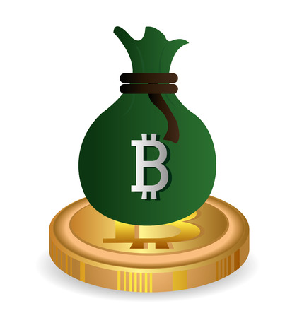 millionaire: Bitcoin design over white background, vector illustration. Illustration