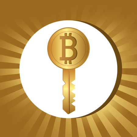 millionaire: Bitcoin design over gold background, vector illustration.