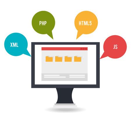 Software design over white background, vector illustration. Ilustração