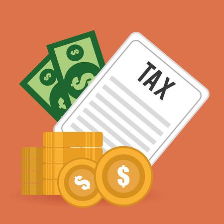 million: Tax design over orange background ,vector illustration.