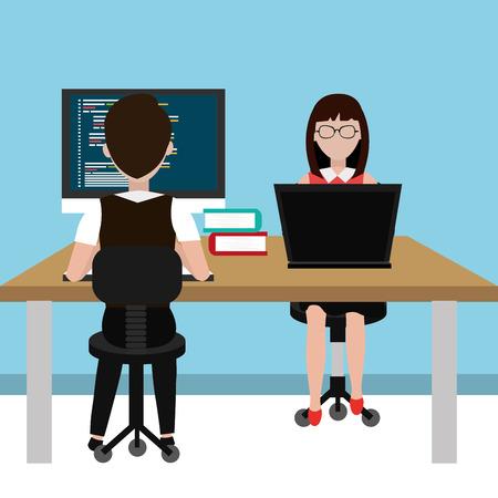 software engineering: Software design over blue background, vector illustration.