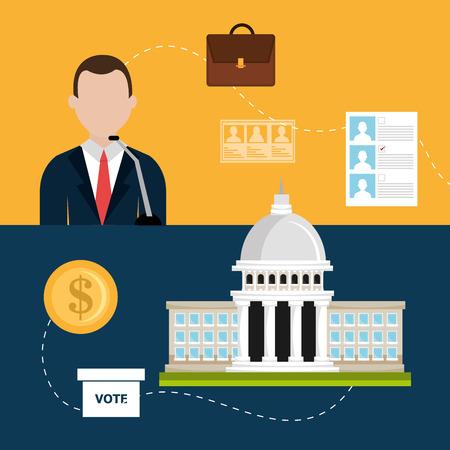 voter: Vote design over colorful background, vector illustration.