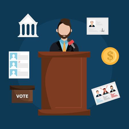 minister: Vote design over blue background, vector illustration.