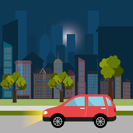 city by night: Urban design over cityscape background, vector illustration. Illustration