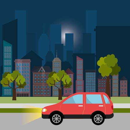 city night: Urban design over cityscape background, vector illustration. Illustration