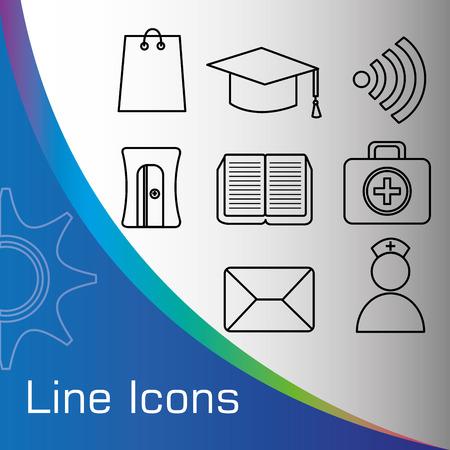school nurse: Line icons design over white background, vector illustration.