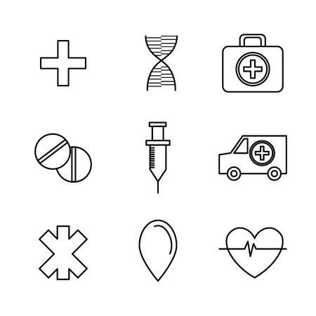 medic: Line icons design over white background, vector illustration.