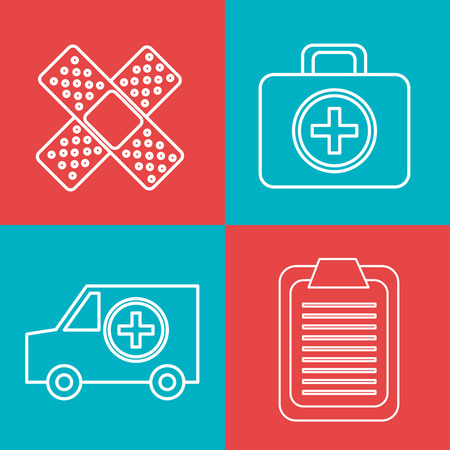 business advice: Line icons design over colorful background, vector illustration. Illustration