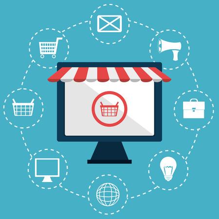 Marketing online design over blue background, vector illustration. Illustration