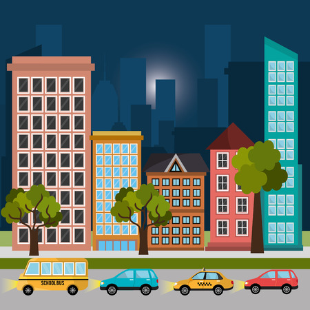 urbanization: Urban design over cityscape background, vector illustration. Illustration