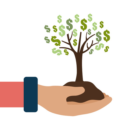 commercial tree care: Money design over white background ,vector illustration. Illustration