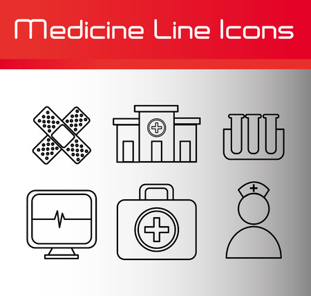 aid: Line icons design over white background, vector illustration.