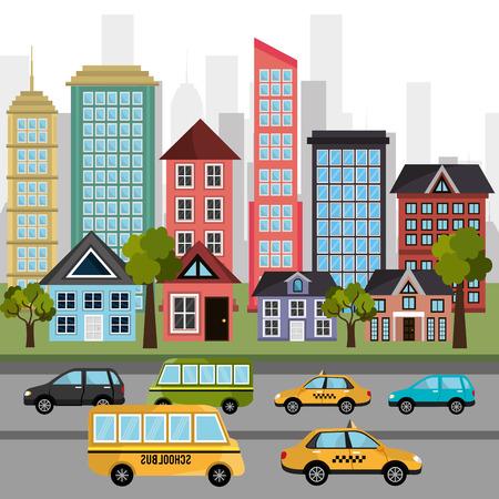 cityscape: Urban design over cityscape background, vector illustration. Illustration