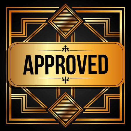 accepted label: approved seal design, vector illustration